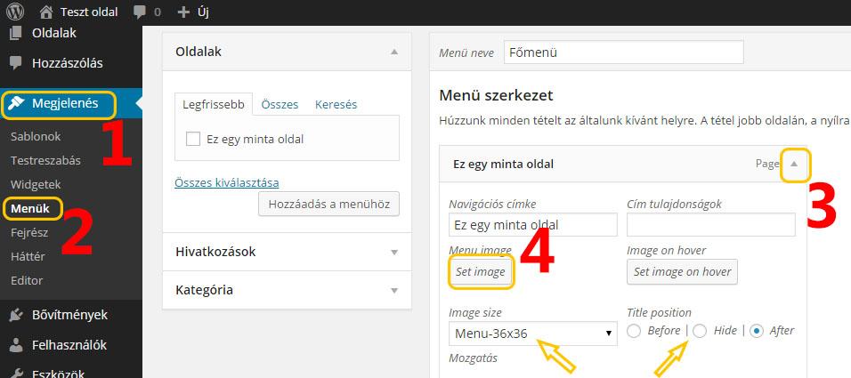 WordPress menü csinosítása ikonnal